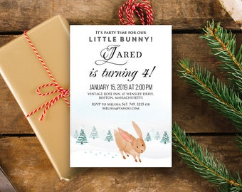 Little Bunny Birthday Invitation Woodland Baby & Kids Birthday Printable Invites Watercolor Winter Forest Rabbit Hare Bday Invites Download