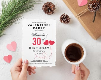 Valentines Party 30th Birthday Invitation Printable Red Hearts Invitation Valentines Day Valentines Birthday February 14 Invite Downloadable