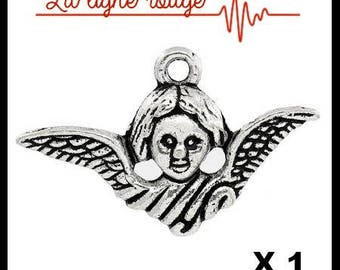 Pendant Angel Wings antique silver, 24mm x 15mm