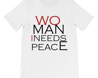 Woman I Needs Peace T-shirt Men's short sleeve t-shirt, peace t-shirt, man t-shirt, red t-shirt, funny t-shirt, relationship t-shirt