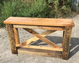 Custom Built Barn Board And Maple Side Table