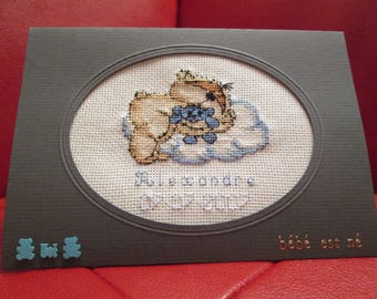 "embroidered ""Teddy bear with his best friend"" boy birth announcement"