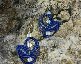 Moonstone macrame earrings