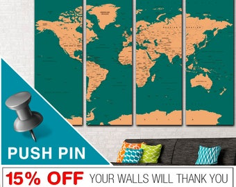 Push Pin World Map, World Map, World Map Push Pin, Word Map Canvas, PushPin World Map, Map Canvas, World Map Wall Art, Map Print, World, Map