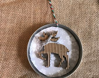Mason jar lid Christmas ornament
