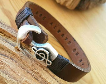 Personalized Gift for Boyfriend Treble Clef Bracelet for Men Leather Bracelet Man Leather Engraved gift