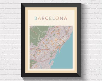 Barcelona Map, Barcelona Street Map, Barcelona City Map, Barcelona Art, Barcelona Print, Barcelona Poster, Barcelona Map Print, Barcelona
