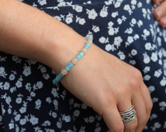 Blue Glass and Rose Quartz Bracelet