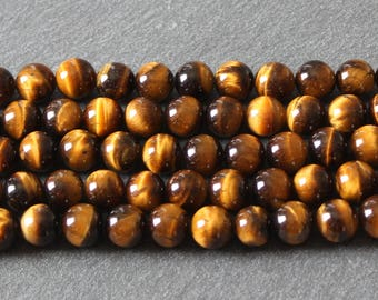 x 6 beads natural Tiger eye round 8 mm PG39