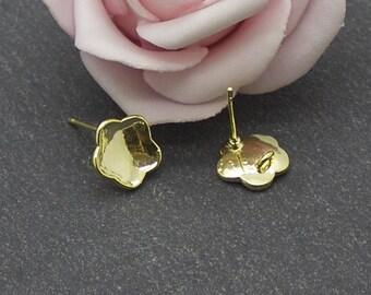 x 2 support of flower Stud Earrings in Golden brass BO129
