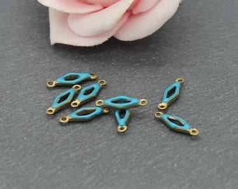 x 10 small connectors made raw brass and enamel blue 13 x 4 mm