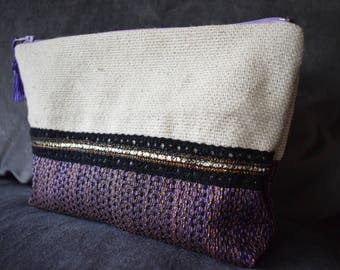 Purple and Black canvas pouch