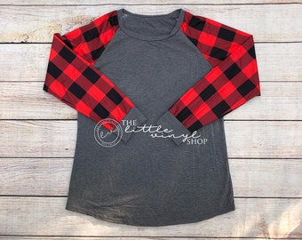 Plaid Raglan - Charcoal Plaid Raglan - Buffalo Plaid Sleeves - Custom - Monogram - IN STOCK - Plus Size