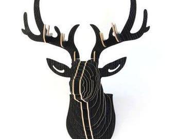 3D Wooden  Deer  Wall Hanging