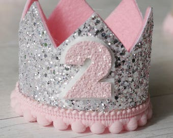 Sparkling Silver and Pink Birthday Crown, 1st birthday, 2nd birthday, cake smash, photo prop