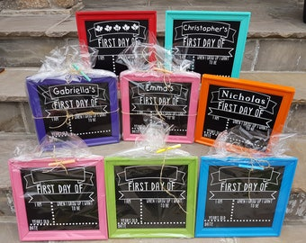 First/Last day of school framed reusable chalkboard sign (double sided) -Back to school signs-Kindergarten Signs-Photo Prop-Reversible