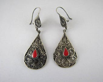 Turcoman filigree silver earrings