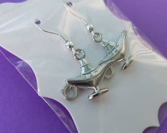 Aladdin Genie Lamp | Silver plated hook earrings | Tibetan Genie charms