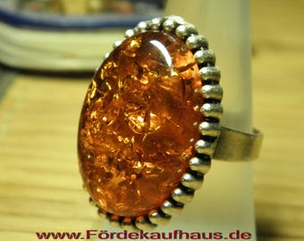 Gemstone Ring-Baltic amber-with Frieze version