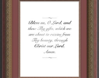 Grace Before Meals Christian Prayer Print Religious Wall Art Catholic Family
