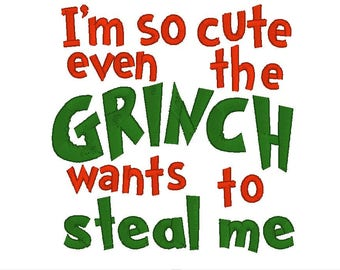 Child's Shirt Design - Christmas Grinch Wording - Embroidery Design - 4x4 - Machine Embroidery - Designs