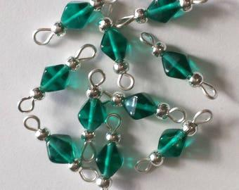 5 bicones 6mm Emerald glass connectors
