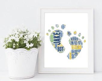 New baby gift / christening gift! Peronalised word art / word cloud print!