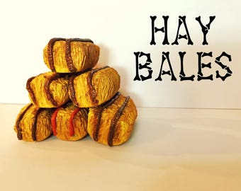 Hand Sculpted Mini Clay Hay Bales