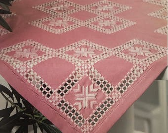 PDF Hardanger Embroidery Pink Tablecloth