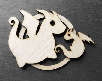 Dragon family ornament - Mother or Father and child - holiday gift Christmas ornament - natural color wood - unscented