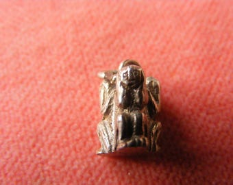 H) Vintage Sterling Silver Charm See no Hear no, Speak no evil monkeys