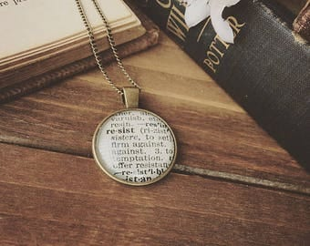 dictionary necklace - RESIST NECKLACE - vintage dictionary - word necklace - resist jewelry - gifts for her - book gifts - dictionary word