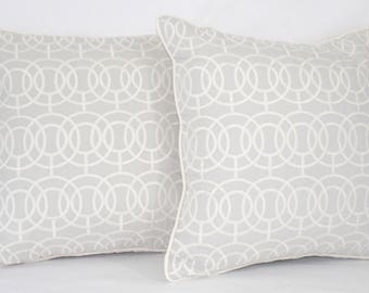 "18 x 18"" Gray/White Embroidered Pillow Cover - Designer Fabric Accent Pillow - Designer Throw Pillow"