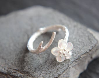 Flower ring flower from mother of pearl ring 925 sterling silver