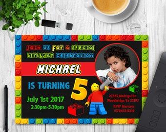 Lego invitation, Lego Birthday, Lego Party, Lego Birthday Invitation, Lego Movie Invitation, Boy invitation, Girl invitation, Any age invite