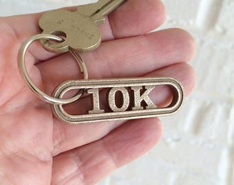 Running keychain 10k 5k 13.1 26.2 running gift for runners keychain, running accessory for her, run jewelry for him, sports keychain