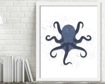 Printable Octopus Wall Art, Kids Ocean Room Decor, Ocean Nursery Wall Art, Octopus Print Digital Download Picture