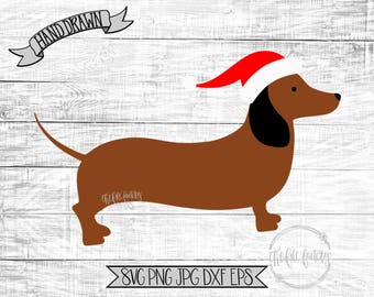 Dachshund In A Santa Hat - Dachshund Through The Snow - Christmas Cut and Print Files / Funny Holiday SVG or Printable / Dachshund EPS SVG