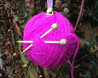 Hand made ball of wool decoration, knitting bauble, knitting ornament, gift for knitter, Mother's Day gift, craft room decoration