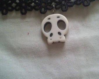 Skull Flower Lace Choker
