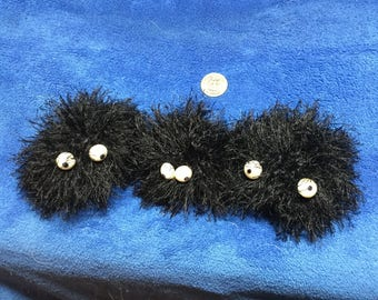 Crocheted Soot Sprite Trio