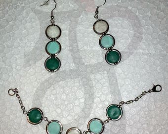 Bracelet and earrings with hoops tiffany fimo