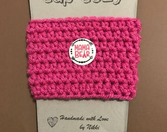 mama bear coffee cozy- coffee cozy- coffee sleeve- gift- mom to be- mama bear coffee sleeve- pink coffee cozy- ready to ship
