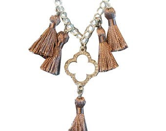 FIOCCA beige taupe and silver necklace