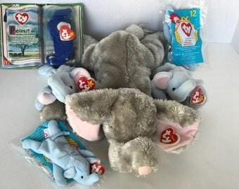 TY Beanie Baby Lot- Elephants Teeny Beanie Peanut, Royal Blue Teeny Peanut, Teensy Buddy