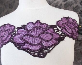 Purple plum flower lace embroidered collar neckline applique dress