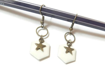 Star and cream white Hexagon sequin earrings