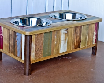 Colorful Rustic Dog Feeding Stand with Hand Inlaid Reclaimed Wood (Medium) / elevated dog feeder / rustic dog feeder / raised dog bowl stand