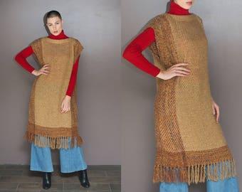 70s Vintage Tan Blanket Poncho Fringe Poncho Long Sweater