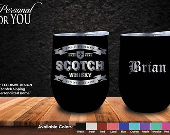 Double Insulated 12oz Stainless Steel Bourbon Tumbler. Laser Engraved. Scotch Sipping Design with YOUR NAME